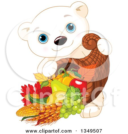 Clipart of a Cartoon Cute Polar Bear Cub Carrying a Thanksgiving Cornucopia - Royalty Free Vector Illustration by Pushkin