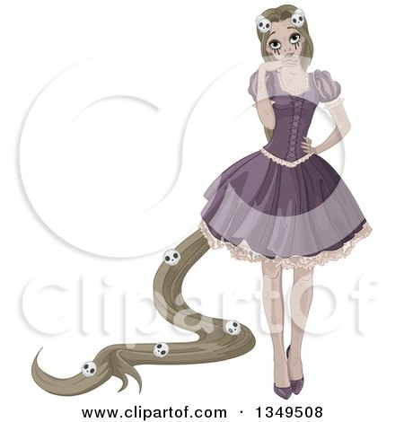 Clipart of a Halloween Zombie Rapunzel Princess with Skulls in Her Hair - Royalty Free Vector Illustration by Pushkin