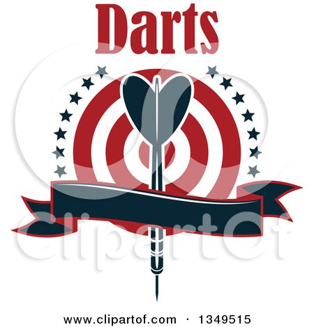 Clipart of a Navy Blue Throwing Dart over a Target with Text Stars and a Blank Ribbon Banner - Royalty Free Vector Illustration by Vector Tradition SM