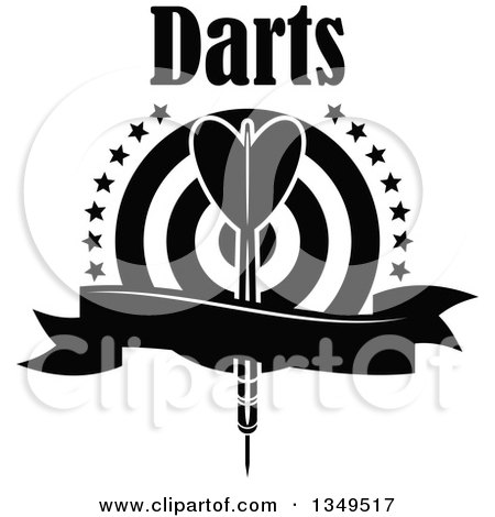 Black and white throwing dart over a target with stars text and a blank ribbon