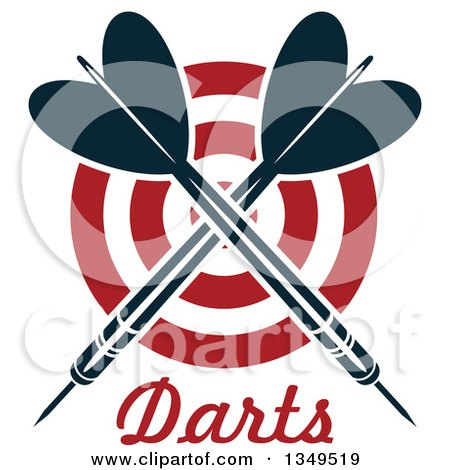 Clipart of Navy Blue Crossed Throwing Darts over a Target and Text - Royalty Free Vector Illustration by Vector Tradition SM