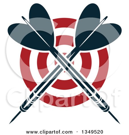 Clipart of Navy Blue Crossed Throwing Darts over a Target - Royalty Free Vector Illustration by Vector Tradition SM