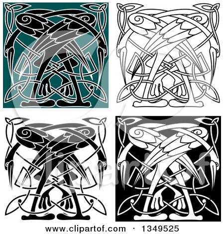 Clipart of Celtic Knot Crane or Heron Designs 5 - Royalty Free Vector Illustration by Vector Tradition SM