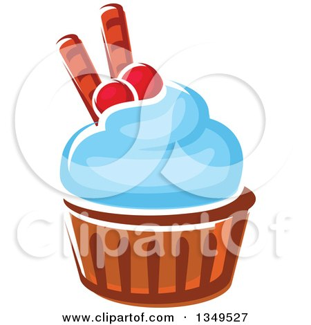Clipart of a Cartoon Cupcake with Blue Frosting, Cranberries and Waffle Tubes - Royalty Free Vector Illustration by Vector Tradition SM