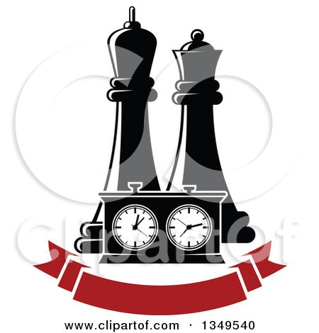 Clipart of Black and White Chess King and Queen Pieces and a Game Clock over a Blank Red Banner - Royalty Free Vector Illustration by Vector Tradition SM