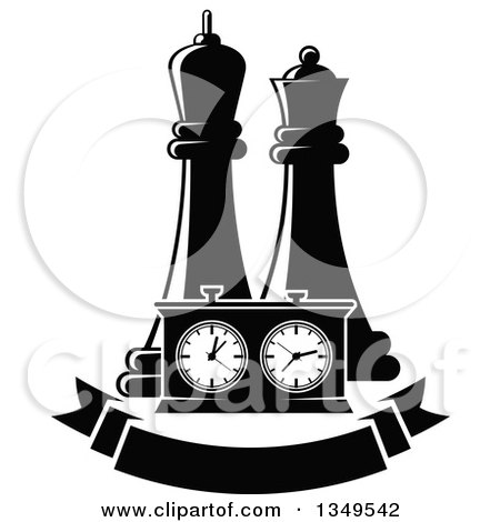 Clipart of Black and White Chess King and Queen Pieces and a Game Clock over a Blank Banner - Royalty Free Vector Illustration by Vector Tradition SM