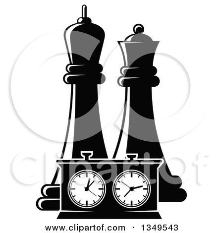 Clipart of Black and White Chess King and Queen Pieces and a Game Clock - Royalty Free Vector Illustration by Vector Tradition SM