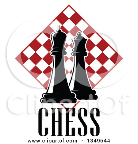 Clipart of Black and White Chess King and Queen Pieces over Text and Red and White Checker Board Diamond - Royalty Free Vector Illustration by Vector Tradition SM