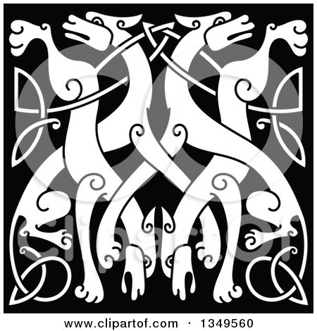 Clipart of a White Celtic Wild Dog Knot on Black 4 - Royalty Free Vector Illustration by Vector Tradition SM
