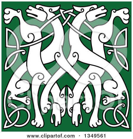 Clipart of a White Celtic Wild Dog Knot on Green 3 - Royalty Free Vector Illustration by Vector Tradition SM