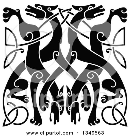 Clipart of a Black Celtic Wild Dog Knot 4 - Royalty Free Vector Illustration by Vector Tradition SM