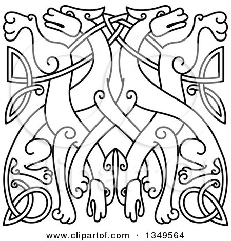 Clipart of a Black Outlined Celtic Wild Dog Knot 4 - Royalty Free Vector Illustration by Vector Tradition SM