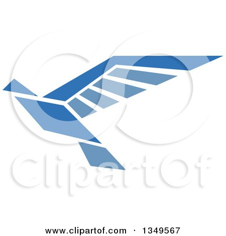Clipart of a Blue Flying Peace Dove 5 - Royalty Free Vector Illustration by Vector Tradition SM