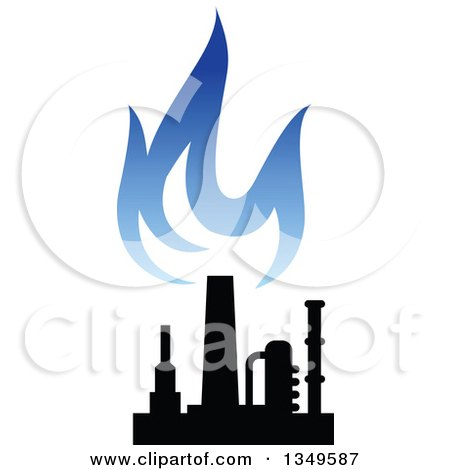 Clipart of a Black and Blue Silhouetted Natural Gas and Flame Design 2 - Royalty Free Vector Illustration by Vector Tradition SM