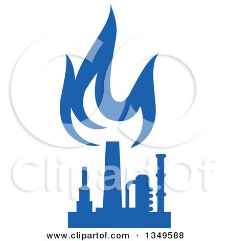 Clipart of a Silhouetted Blue Natural Gas and Flame Factory 9 - Royalty Free Vector Illustration by Vector Tradition SM