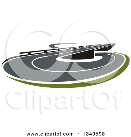 Clipart of a Road or Highway Entrance or Exit with an Overpass - Royalty Free Vector Illustration by Vector Tradition SM