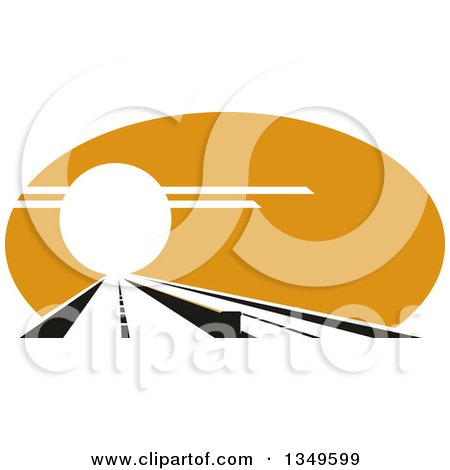 Clipart of a Straight Highway Leading into the Sunset - Royalty Free Vector Illustration by Vector Tradition SM