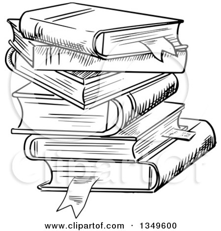 Clipart of a Black and White Sketched Messy Stack of Books - Royalty Free Vector Illustration by Vector Tradition SM