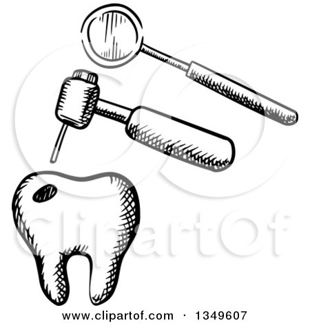 Clipart of a Black and White Sketched Tooth, Dental Drill ...