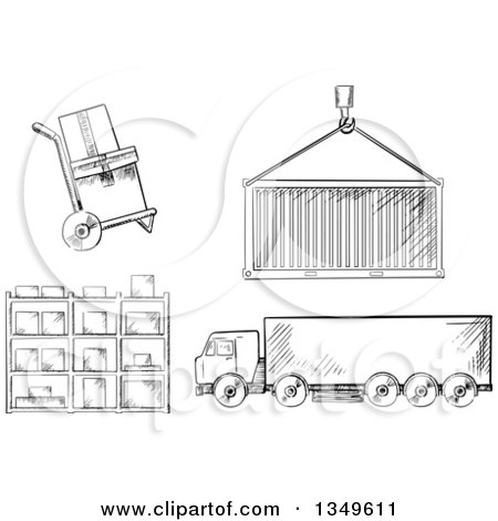 Clipart of a Black and White Sketched Dolly with Boxes, Crane Lifting a Cargo Container, Big Rig Truck and Warehouse Shelves - Royalty Free Vector Illustration by Vector Tradition SM