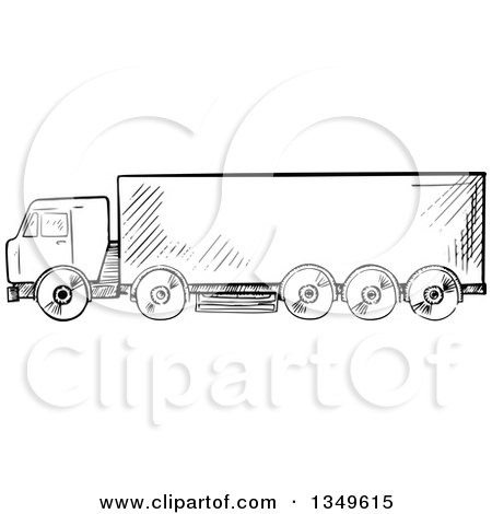 Clipart of a Black and White Sketched Big Rig Truck - Royalty Free Vector Illustration by Vector Tradition SM