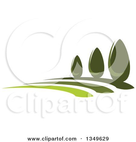 Clipart of a Park with Green Shrubs on a Hill - Royalty Free Vector Illustration by Vector Tradition SM