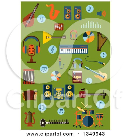 Clipart of Flat Design Musical Instruments, Saxophone, Electric Guitar, Synthesizer, Balalaika, Drum Set, Harps, Accordion, Ethnic Stringed Instruments, Acoustic System, Microphones, Headphones, Digital Player and Notes on Green - Royalty Free Vector Il by Vector Tradition SM