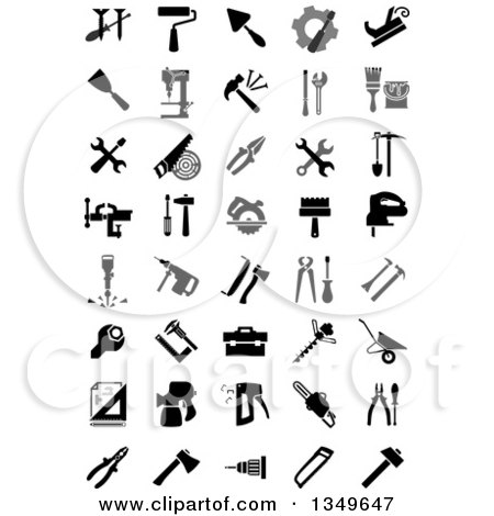 Clipart of Black and White Tool Icons - Royalty Free Vector Illustration by Vector Tradition SM