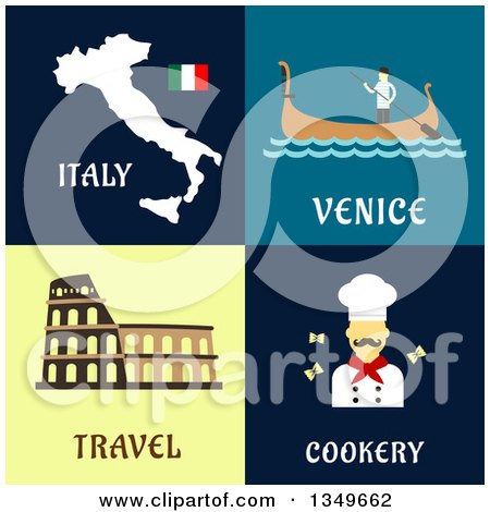 Clipart of Flat Design Italy Map, Venice Gondola, Coliseum and Chef Designs with Text - Royalty Free Vector Illustration by Vector Tradition SM