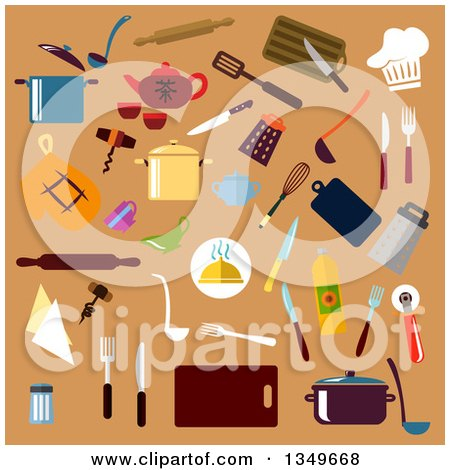 Clipart of Flat Design Kitchen Utensils on Tan - Royalty Free Vector Illustration by Vector Tradition SM