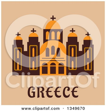 Clipart of a Flat Design Building of Saint Andrew Cathedral over Greece Text on Beige - Royalty Free Vector Illustration by Vector Tradition SM