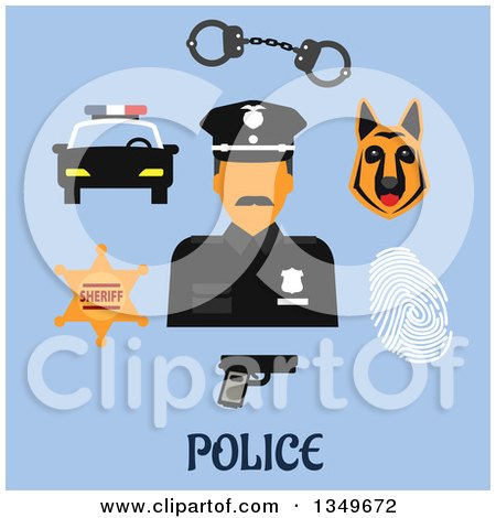 Clipart of a Flat Design Male Police Officer with Handcuffs, Gun, Police Car, Sheriff Star Badge, Fingerprint and Dog - Royalty Free Vector Illustration by Vector Tradition SM