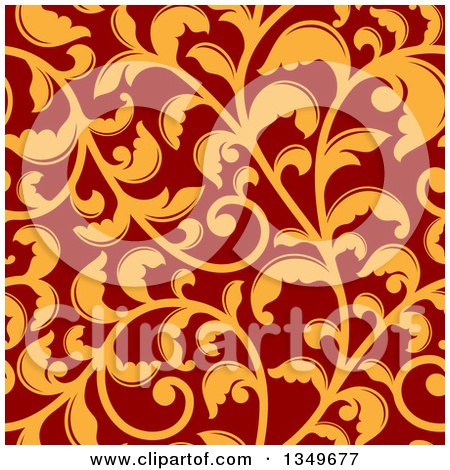 Clipart of a Seamless Background Pattern of Orange Vintage Floral Scrolls on Red 2 - Royalty Free Vector Illustration by Vector Tradition SM