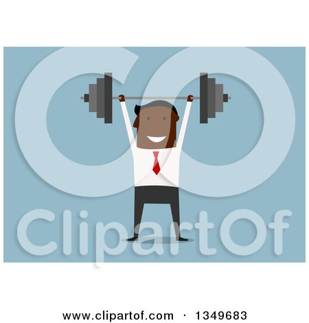 Clipart of a Flat Design Black Businessman Lifting a Barbell, Over Blue - Royalty Free Vector Illustration by Vector Tradition SM