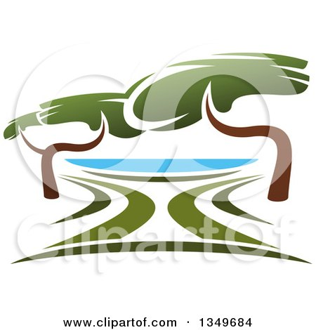 Clipart of a Lake Front Park with Trees - Royalty Free Vector Illustration by Vector Tradition SM