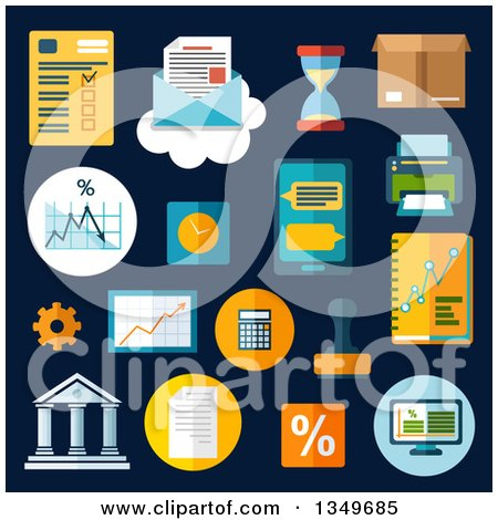 Clipart of Flat Design Business and Financial Charts with a Desktop Computer, Report, Financial Graphs, Charts, Smartphone, Letter and Delivery Box, Bank, Rubber Stamp, Calculator, Wall Clock, Hourglass, Printer, Percent and Gear - Royalty Free Vector I by Vector Tradition SM