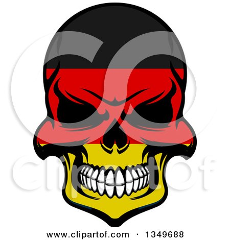 Grinning Evil Skull in German Flag Colors Posters, Art Prints