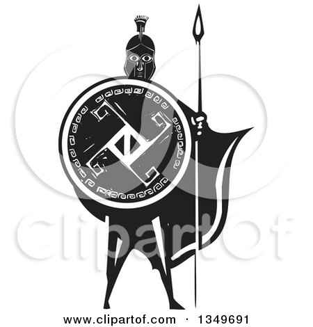 Clipart of a Black and White Woodcut Caped Spartan Soldier Holding a Spear and Shield - Royalty Free Vector Illustration by xunantunich