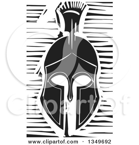 Clipart of a Black and White Woodcut Spartan Soldier Helmet - Royalty Free Vector Illustration by xunantunich