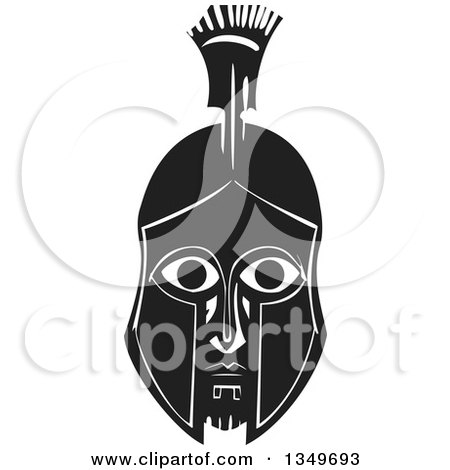 Clipart of a Black and White Woodcut Spartan Soldier Face in a Helmet - Royalty Free Vector Illustration by xunantunich