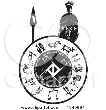 Clipart of a Black and White Woodcut Spartan Soldier Holding a Spear and Shield - Royalty Free Vector Illustration by xunantunich