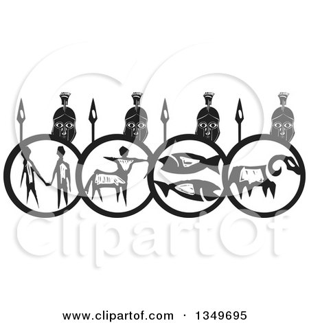 Clipart of a Black and White Woodcut Spartan Soldier Phalanx with Spears and Shields - Royalty Free Vector Illustration by xunantunich