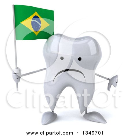 Clipart of a 3d Unhappy Tooth Character Giving a Thumb down and Holding a Brazilian Flag - Royalty Free Illustration by Julos