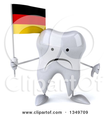 Clipart of a 3d Unhappy Tooth Character Giving a Thumb down and Holding a German Flag - Royalty Free Illustration by Julos