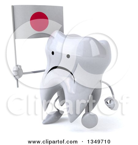 Clipart of a 3d Unhappy Tooth Character Walking to the Left Holding a Japanese Flag - Royalty Free Illustration by Julos