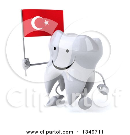Clipart of a 3d Happy Tooth Character Walking to the Left and Holding a Turkish Flag - Royalty Free Illustration by Julos