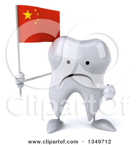 Clipart of a 3d Unhappy Tooth Character Holding and Pointing to a Chinese Flag - Royalty Free Illustration by Julos