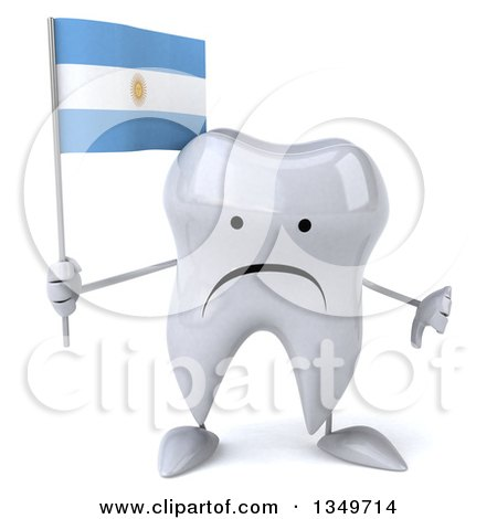 Clipart of a 3d Unhappy Tooth Character Giving a Thumb down and Holding an Argentine Flag - Royalty Free Illustration by Julos