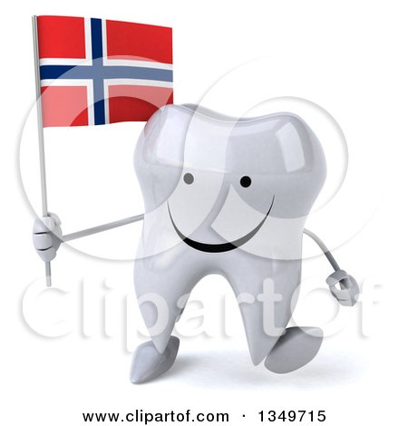 Clipart of a 3d Happy Tooth Character Walking and Holding a Norwegian Flag - Royalty Free Illustration by Julos
