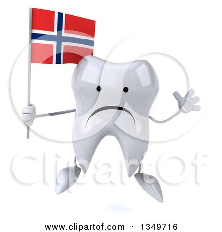 Clipart of a 3d Unhappy Tooth Character Jumping and Holding a Norwegian Flag - Royalty Free Illustration by Julos